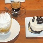 Oreo cheese cake on the right and Banoffee pie on the left