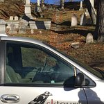 The SK Tours van parked in the cemetary where scenes from Pet Sematary were filmed