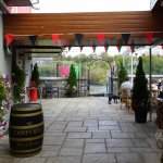 The walkway from the restaurant/bar area to the outdoor terrace area by the River Cong.