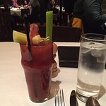 Bloody Mary with a pickle, pineapple, celery and Salami!!!