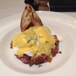 Homemade Corned Beef Hash, Poached Eggs and Hollandaise Sauce