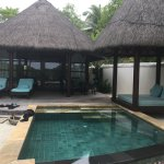 Outdoor day bed and plunge pool.