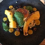 Goats cheese and pumpkin with pesto