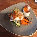 Cod with sweet potato, squid and courgette ribbons