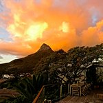View of our lilac tree and Lion's Head from our pool deck at sunset ...