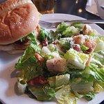 Chicken sandwich and salad