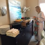 Breakfast spread delivered to presidential suite - great breakfast burritos!