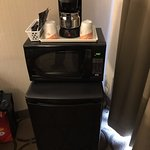 Coffee Maker, Microwave and Mini Fridge in room