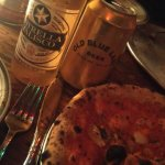 2 cheap (no taste) beers, rosso with 1 4$ anchovies schredded on tghe rosso pizza