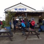Fed and watered by the Seaways Cafe excellent staff, we prepare for our walk