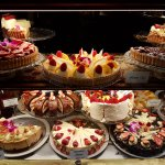 Delicious cakes in the window