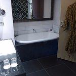 bathtub and robe