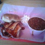 Eli's smoked turkey sammich with baked beans, mmmm.