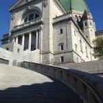 Ascending the steps of Saint Joseph's Oratory.