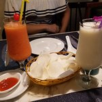 Lassi and shrimp chips