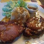 lamnb with sweet potatoe and honey sauce