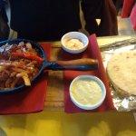 fajitas with seafood and vegetables
