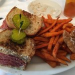 1 lb. corned beef sandwich with sweet potato fries and apple fritters