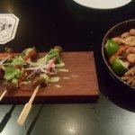 Lamb skewer, crispy prawn