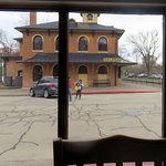 view of Galen train depot from front window of Otto's Place