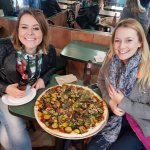 Giant vegan pizza and beer times!! <3<3
