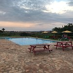 the pool with the sunsetting
