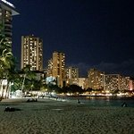 Evening view of Waikiki Beach from our hotel
