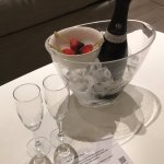 Complimentary bottle of Cava and Strawberries..