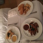 Room service food was terrible. The fish and chips was soggy fried fish and the chicken wings we
