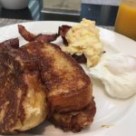 French toast with scrambled eggs and bacon for breakfast - breakfast buffet, Seda, Manila
