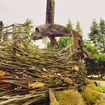 Local Art displayed in the garden of Sooke Harbour House