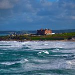 Hotel viewed across Fistral Bay