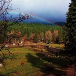 The pasture and corral of Greenhorn Creek Guest Ranch nestled in the High Sierras