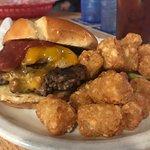 Brick burger and tots - YES!