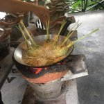 Making chicken stuffed lemongrass