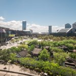 View over Chinese Gardens and Darling Square area