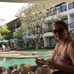 Eat breakfast whilst enjoying the pool view.