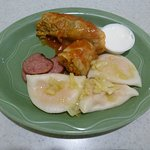 """Half serving of """"Homerun"""" with boiled perogies - and very thin sliced pices of sausage"""
