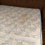 Old dirty mattress in sleeper sofa