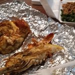 Jerk Lobster, rice and peas, calaloo