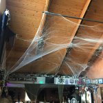 Main dining area decorated for Halloween.