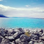 The glacial blue colour of the lake