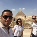The pyramids!! With our Memphis guide, Ahmed El Sewedy.