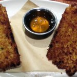 jalapeno corn bread with a dipping sauce
