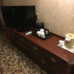 Flat screen TV and tea/coffee making facilities.
