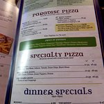 pizzas and dinner specials