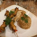 Spiced Chicken Skewer, rice, roti bread, minus the dressing!