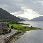 View of Ballachulish Hotel from bridge.