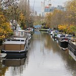 Canal boats lined up