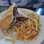 Lamb sandwich with fries